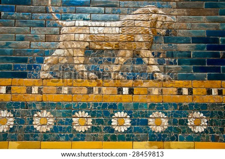 Detail of a Lion on a Babylonian city wall - stock photo