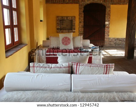 Detail of a living room, rural interior - stock photo