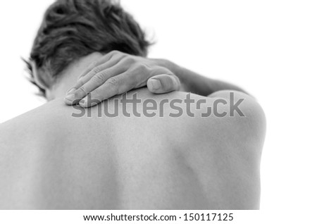 Detail of a man suffering from neck pain. Isolated over white background.