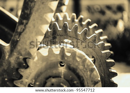 detail of a mechanism with toothed wheels of the period of industrialization - stock photo