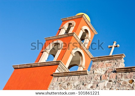 Detail of a Mexican church, brilliant colours - stock photo