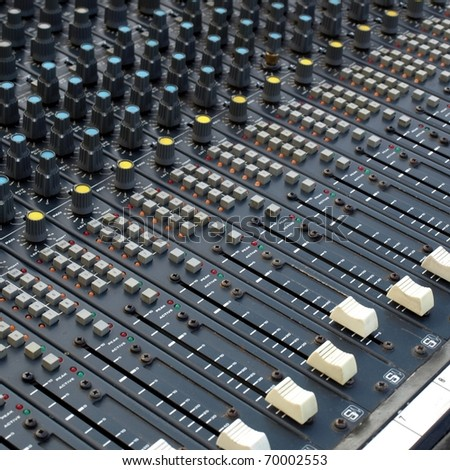 Detail of a mobile soundboard mixer for live music