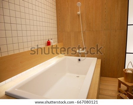 detail of a modern bath tub with shower attachment