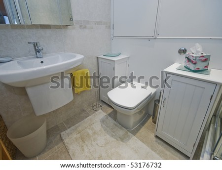 detail of a modern bathroom with white cupboards and accessory