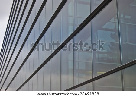 detail of a modern building made of glass and steel