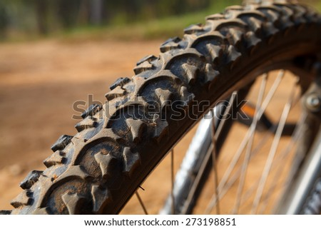 Detail of a Mountain Bike Tire,Selective focus - stock photo