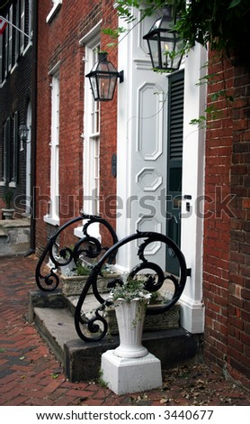 Detail of a neighborhood in historic old town Alexandria - stock photo