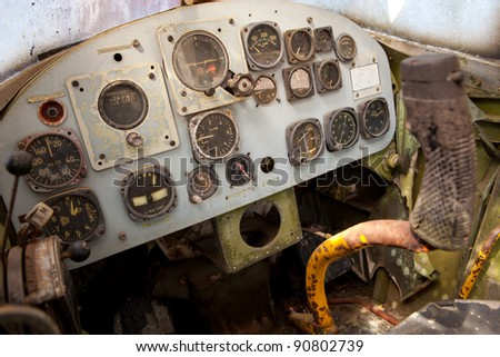 Detail of a old airplane cockpit - stock photo