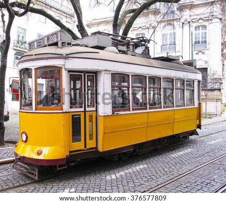 detail of a  old lisbon tram  - stock photo