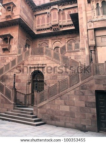 detail of a ornamendet building in Bikaner, a city in India - stock photo
