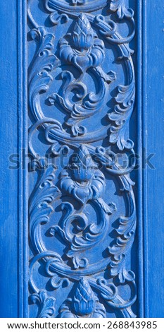 Detail of a ornamented entrance in blue color - Djurgarden, Sweden - stock photo