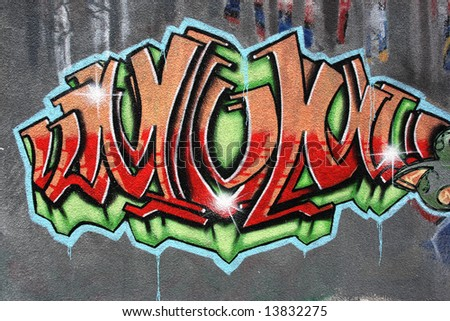 Detail of a painting. City wall texture - graffiti art abstract background.