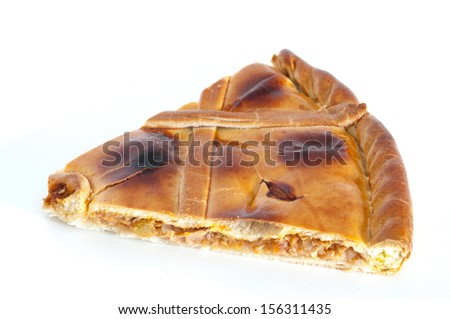 Detail of a portion of tuna pie - stock photo