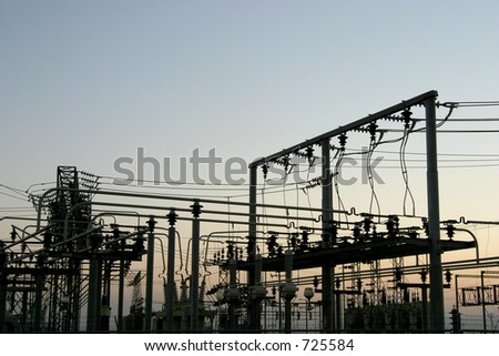 Detail of a power distribution substation.