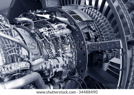 detail of a powerful comercial jet engine