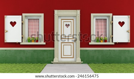 Detail of a romantic house with windows and front door decorated with hearts - 3D Rendering - stock photo