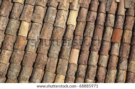Detail of a roof in Dubrovnik, Croatia seen from the old town wall. - stock photo