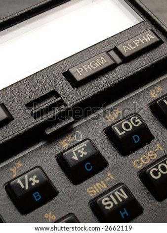 Detail of a scientific calculator keyboard and display
