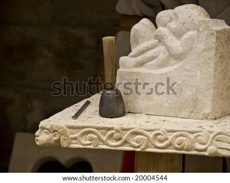 Detail of a sculptor's mallet - stock photo
