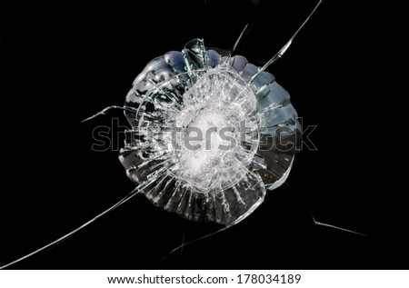 Detail of a shattered store window. - stock photo