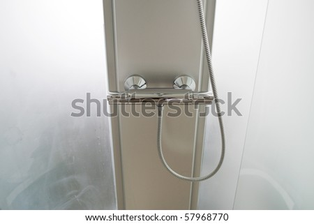detail of a shower in contemporary home - stock photo
