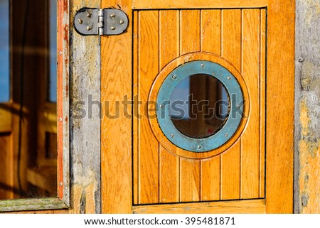 Boat window stock images royalty free images vectors for Boat cabin entry doors