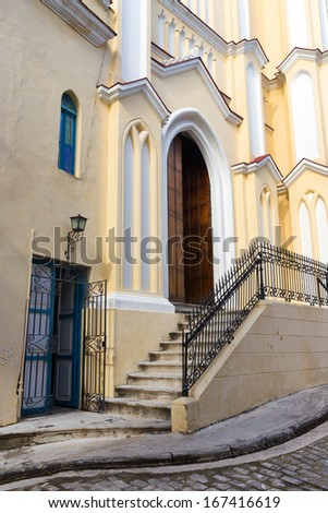 Detail of a small pintoresque church in Old Havana - stock photo