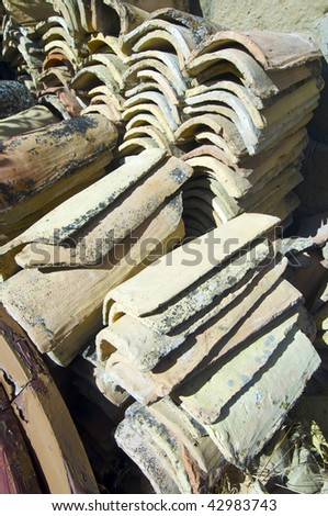 Detail of a Spanish roof tiles - stock photo