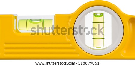 detail of a spirit level against a white background - stock photo