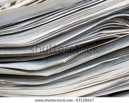 Detail of a stack pile of newspapers