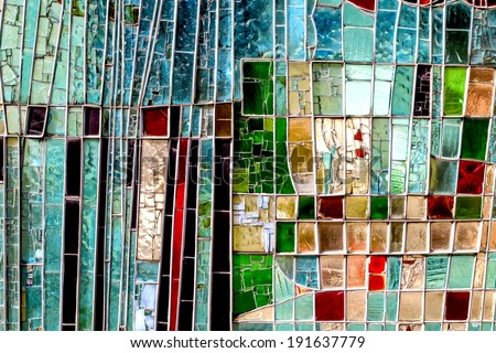 Detail of a Stained Colorful Window. Abstract Texture Background - stock photo