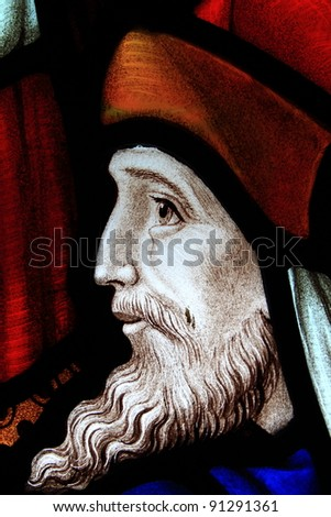Detail of a stained glass window - stock photo