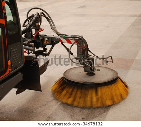 detail of a street sweeper machine/car - stock photo