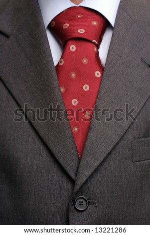 Detail of a suit and a tie, isolated - stock photo