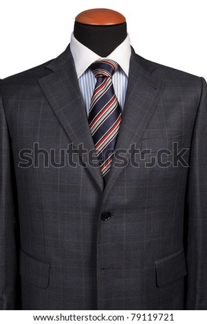 Detail of a suit and a tie isolated on white background - stock photo