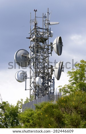 detail of a telecomunication tower in a field in la spezia