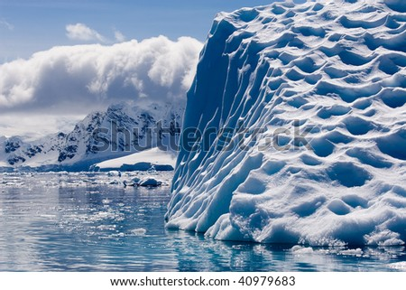 detail of a textured iceberg - stock photo