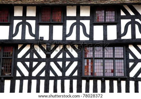 Detail of a timbered building, Stratford-Upon-Avon, UK. - stock photo