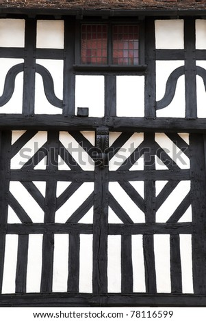 Detail of a timbered building, Stratford-Upon-Avon, UK - stock photo