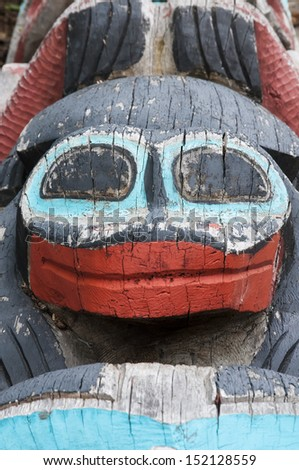 Detail of a totem pole in Haines, Alaska - stock photo