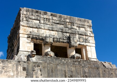Detail of a tower at the Juego de Pelota (ball game) ruins at the Mayan city of Chichen Itza, Mexico. - stock photo