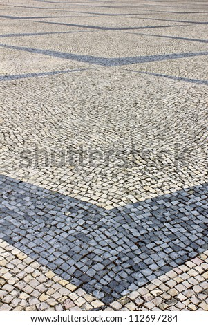 Detail of a typical Portuguese stone pavement