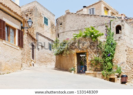 Detail of a typical spanish house in a small village in sunlight - stock photo