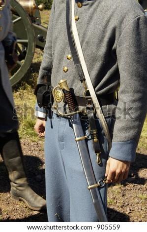 Detail of a uniform during a civil war battle enactment. - stock photo
