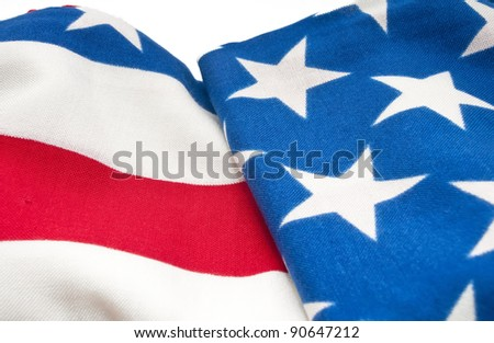 Detail of a United States Flag of the fabric - stock photo