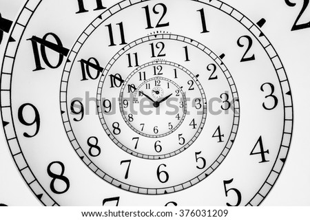 Detail of a used mechanical clock with hypnotic quadrant, very flexible concept - stock photo