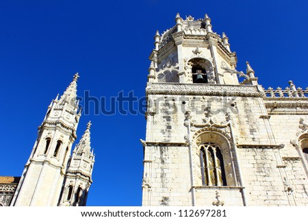 Detail of a very famous Monastery at Lisbon - stock photo