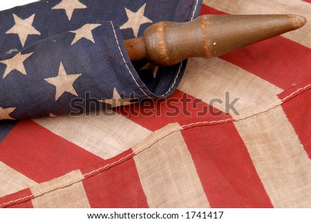 detail of a vintage american flag - stock photo