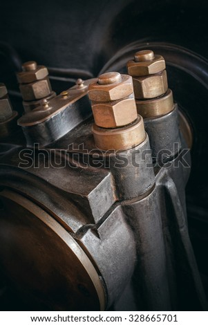 Detail of a vintage industrial mechanical machine - stock photo