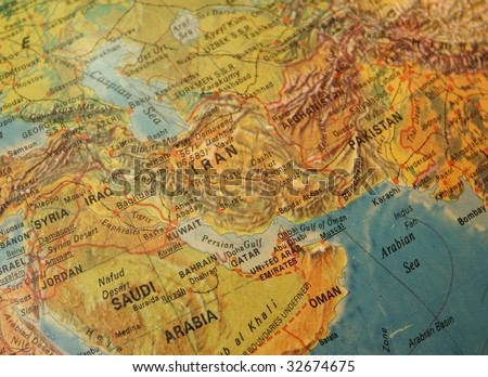 Detail of a vintage map showing the Middle East, including Iran - stock photo